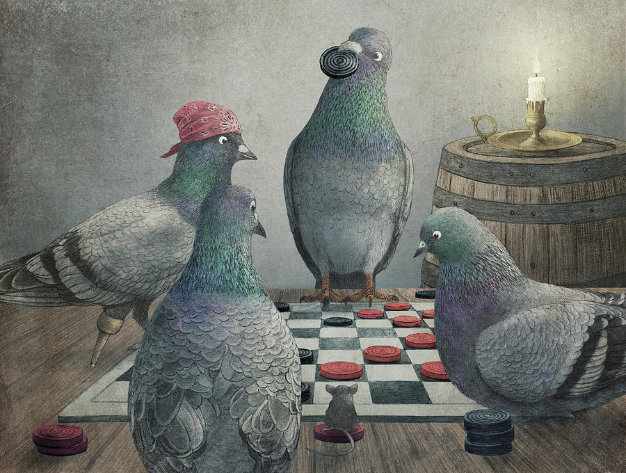 Pigeons Playing Checkers by Eric Fan