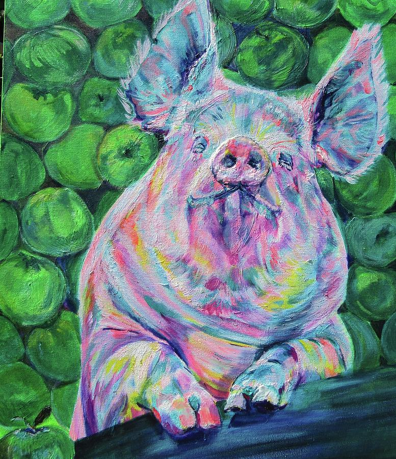 Piggy and apples by Karin McCombe Jones