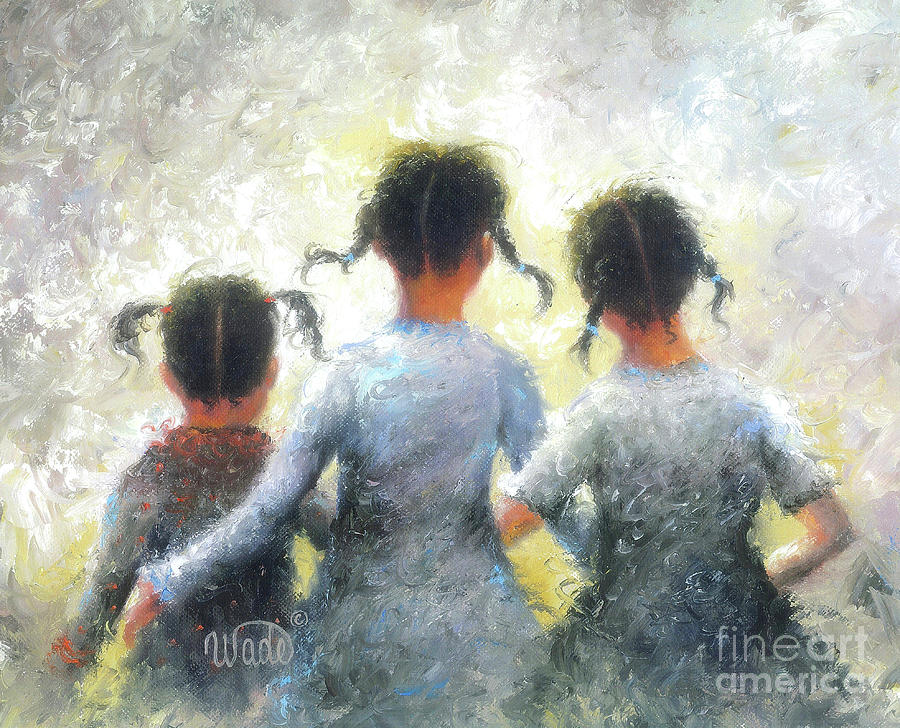 Three Sisters Painting - Pigtails Three Sisters by Vickie Wade