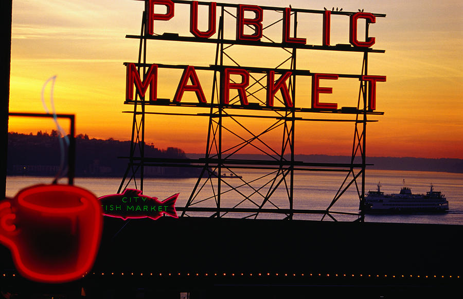 Pike Place Market Sign, Seattle Photograph by Lonely Planet