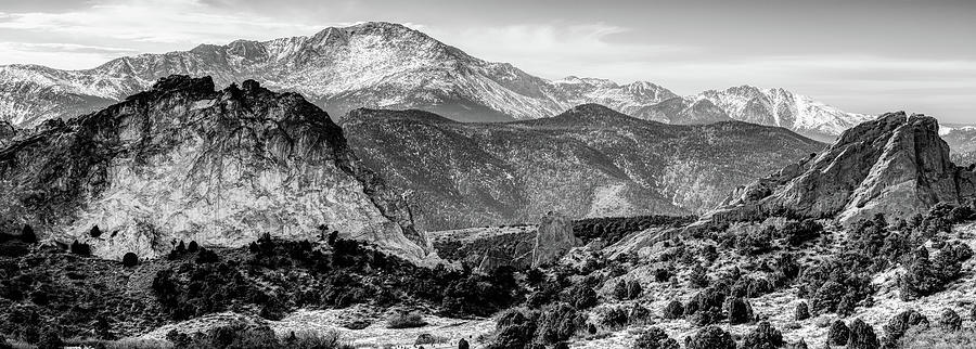 America Photograph - Pikes Peak Mountain Landscape Panorama Infrared Monochrome  - Colorado Springs by Gregory Ballos