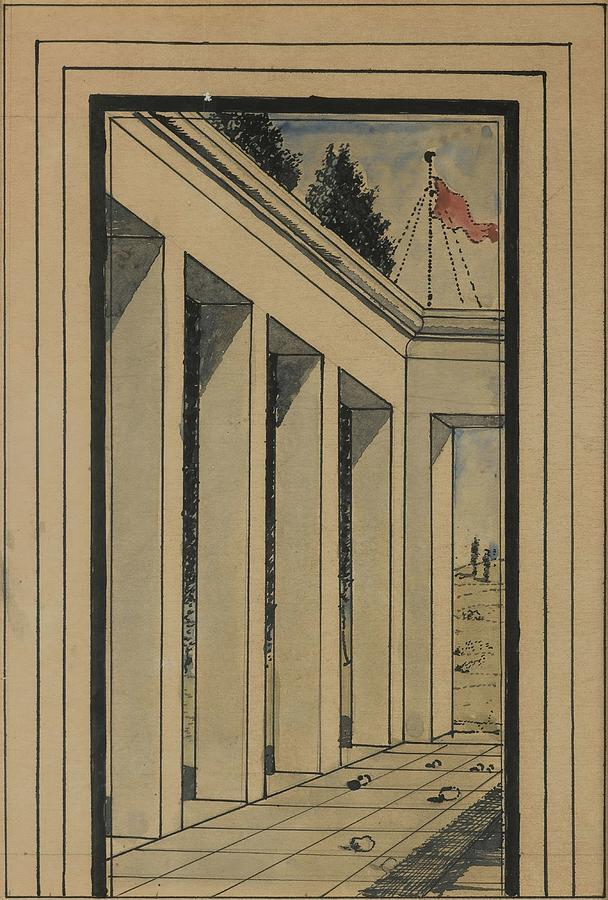 Pillars And Flag  by Paul Delvaux