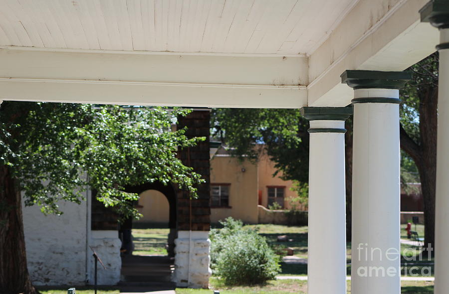Commanding Officer Photograph - Pillars of Officers Quarters and Arched Passage at Fort Stanton New Mexico by Colleen Cornelius