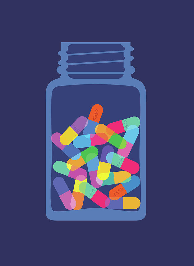 Pills And Capsules In Bottle Digital Art by Smartboy10