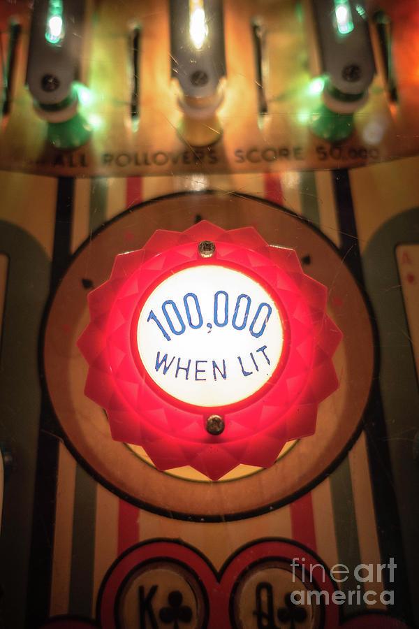 Pinball Photograph - Pinball 100000 When Lit by Edward Fielding