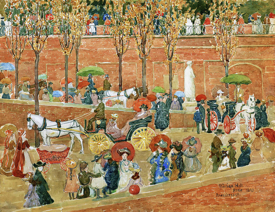 Usa Painting - Pincian Hill, Rome - Digital Remastered Edition by Maurice Brazil Prendergast