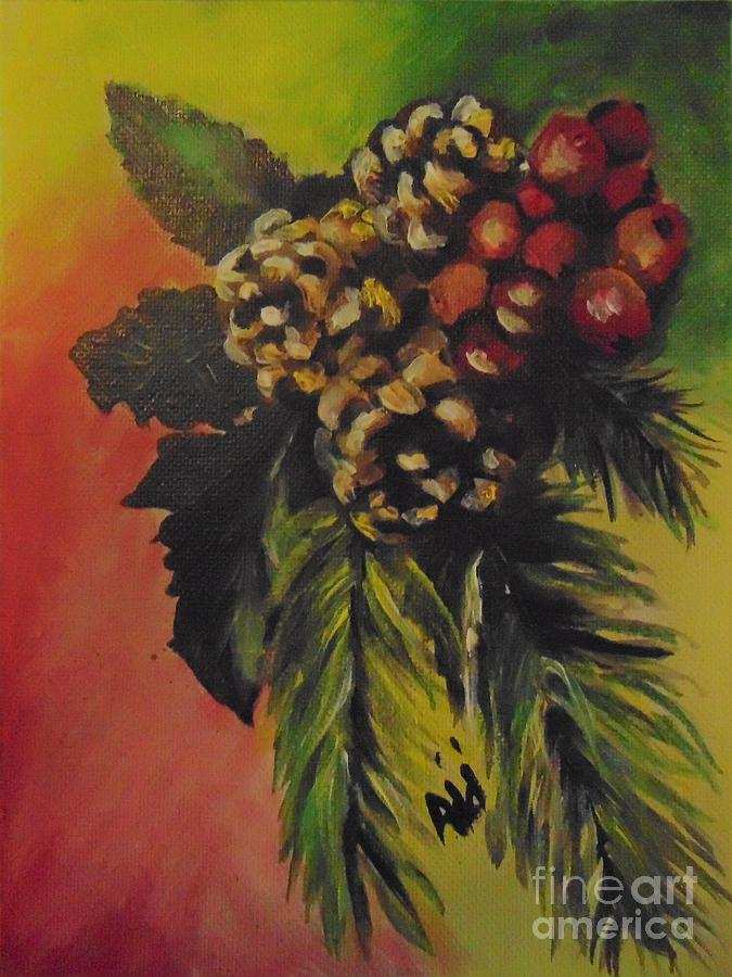 Pine Cones and Berries by Saundra Johnson