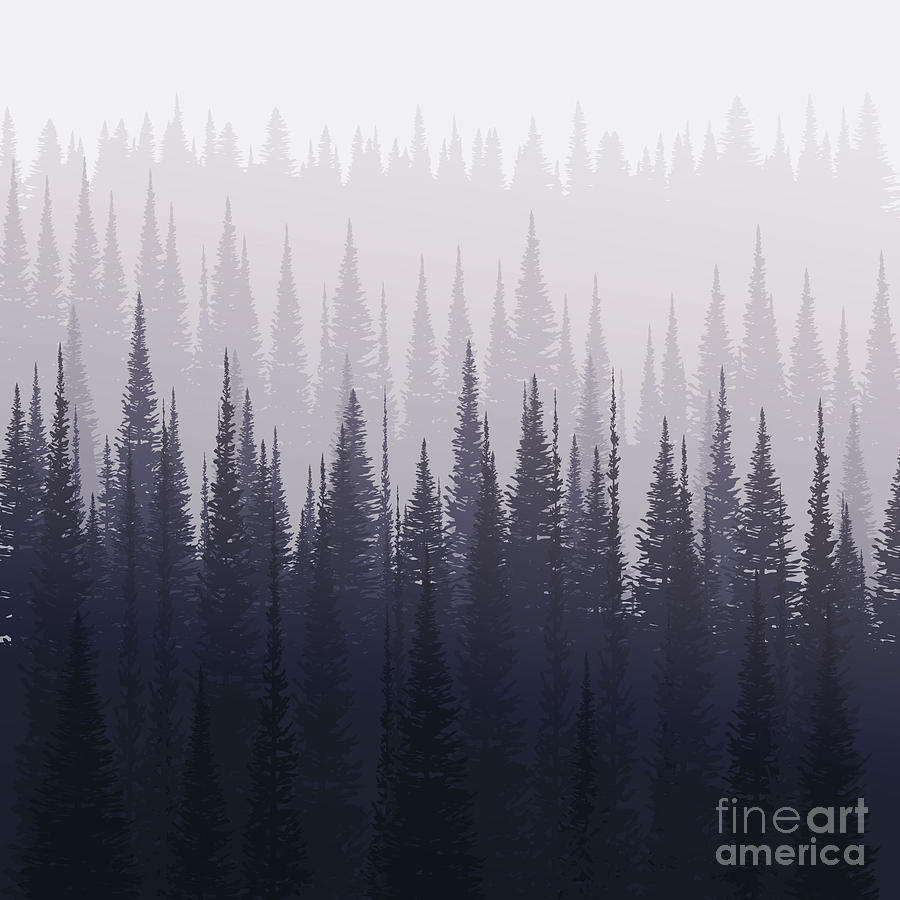 Forest Digital Art - Pine Forest In Winter Nature Landscape by Kobsoft