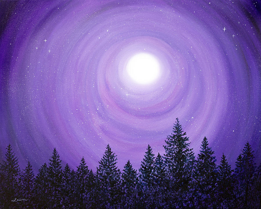 Pine Trees in Purple Moonlight by Laura Iverson