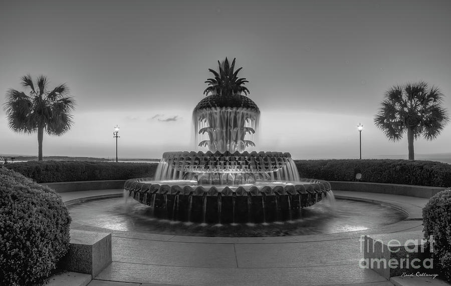 Pineapple Fountain Sunrise B W Waterfront Park Landscape Charleston South Carolina Art by Reid Callaway