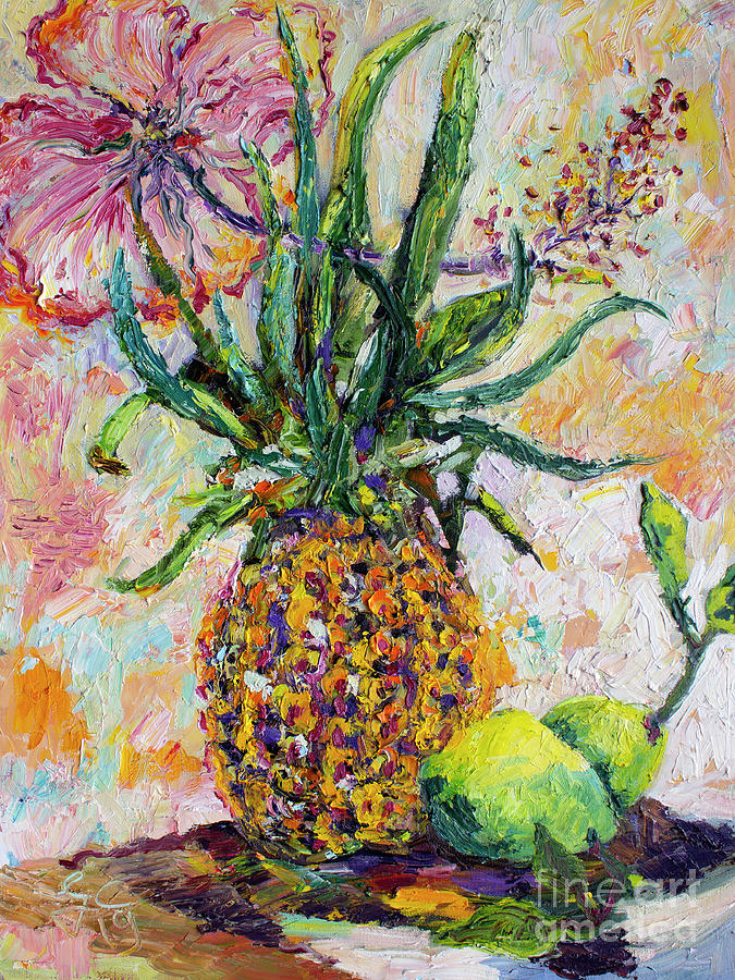 Pineapple Limes Hibiscus Palette Knife Oil Painting by Ginette Callaway