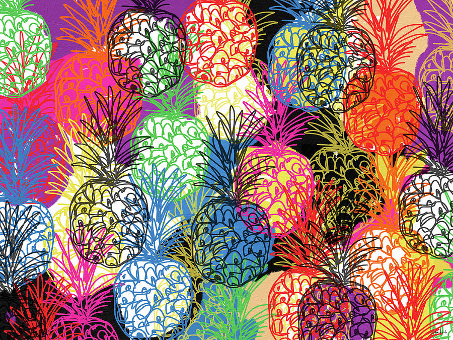 Pineapple Mixed Media - Pineapple Party- Art by Linda Woods by Linda Woods