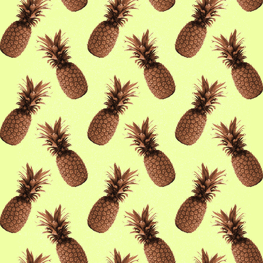 Pineapple Pattern - Tropical Pattern - Summer- Pineapple Wall Art - Brown, Beige - Minimal Mixed Media