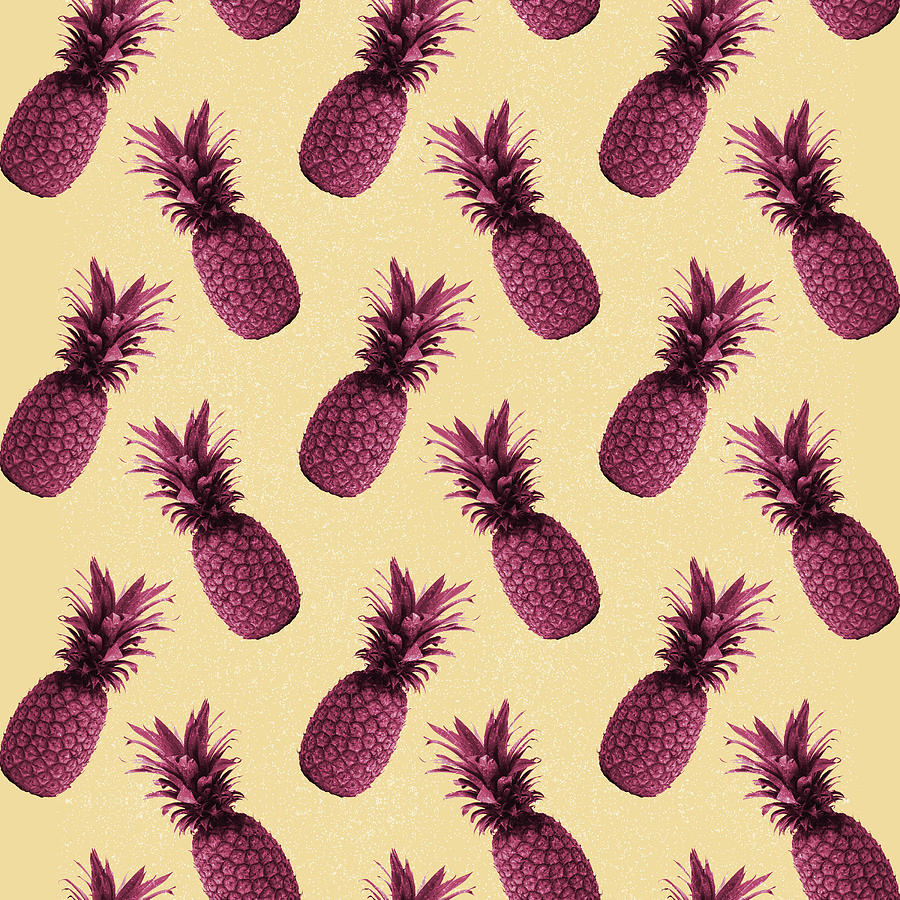 Pineapple Pattern - Tropical Pattern - Summer- Pineapple Wall Art - Purple, Beige - Minimal Mixed Media