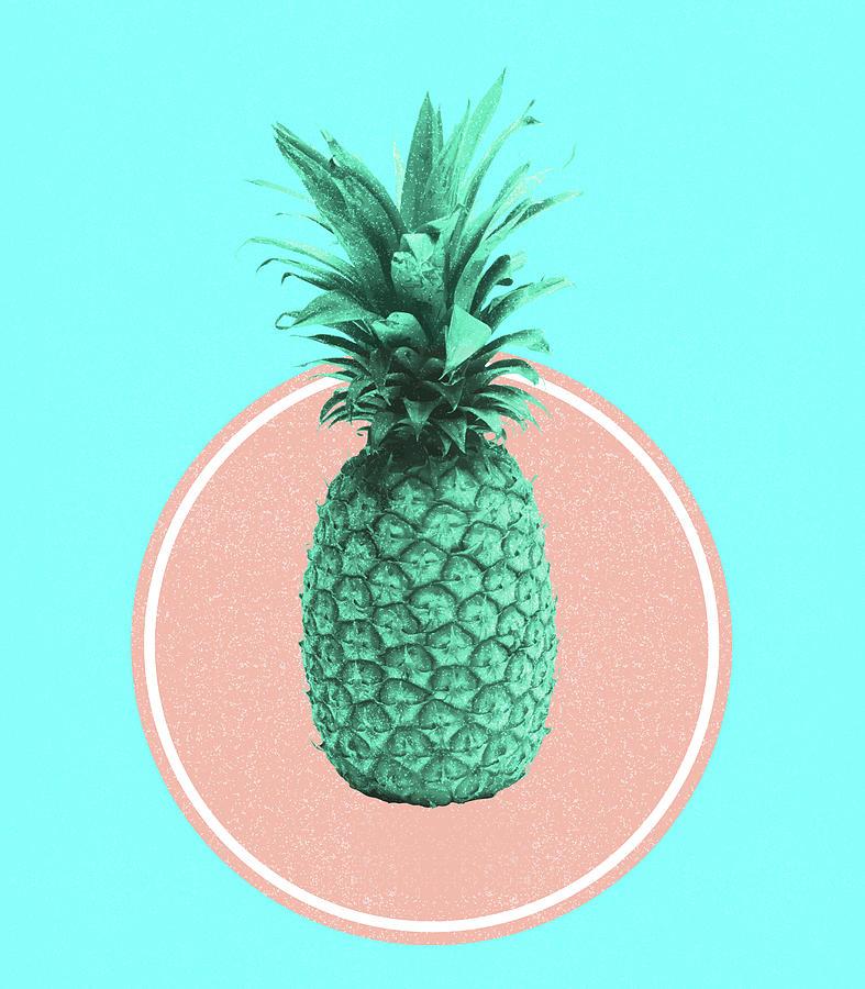 Pineapple Print - Tropical Decor - Botanical Print - Pineapple Wall Art - Blue - Minimal, Modern Mixed Media