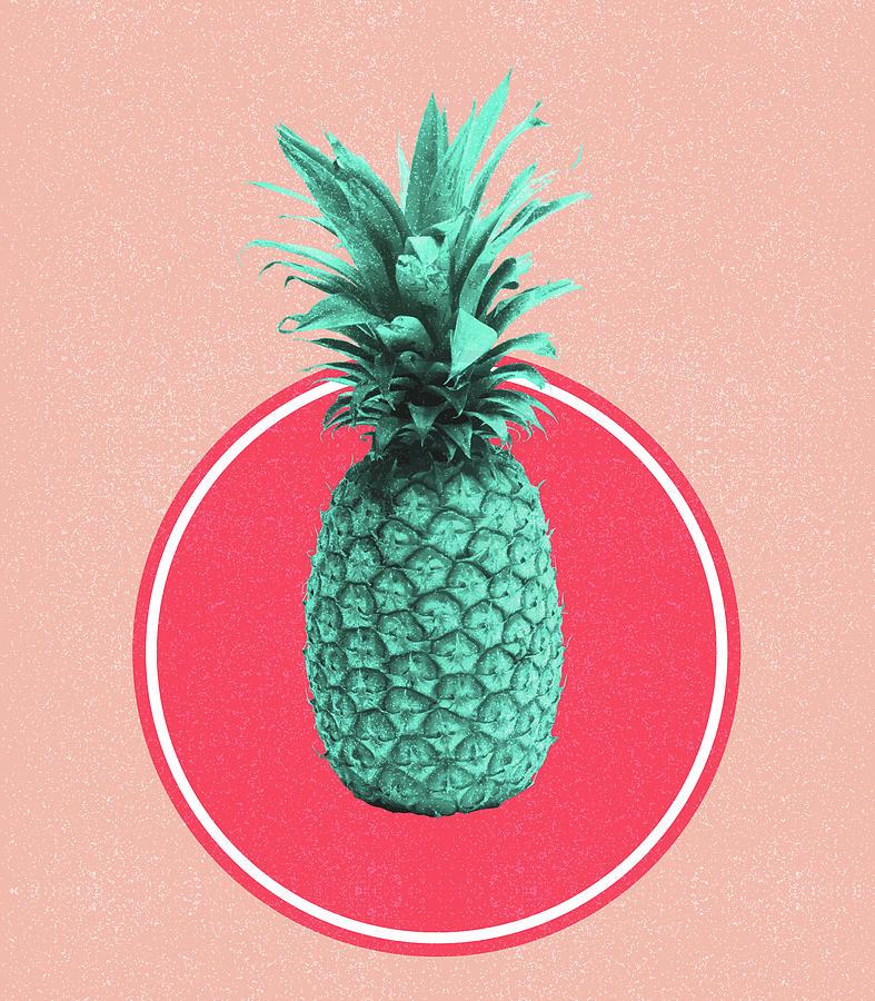 Pineapple Print - Tropical Decor - Botanical Print - Pineapple Wall Art - Blue, Pink - Minimal Mixed Media