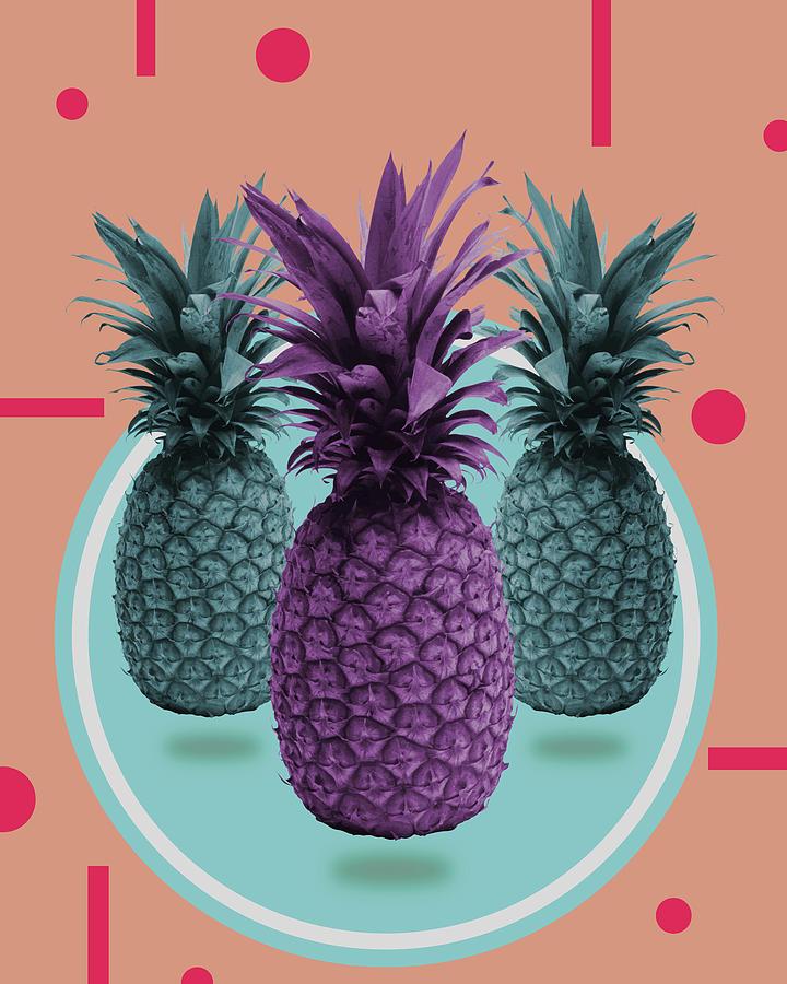 Pineapple Print - Tropical Decor - Botanical Print - Pineapple Wall Art - Brown, Blue - Minimal Mixed Media