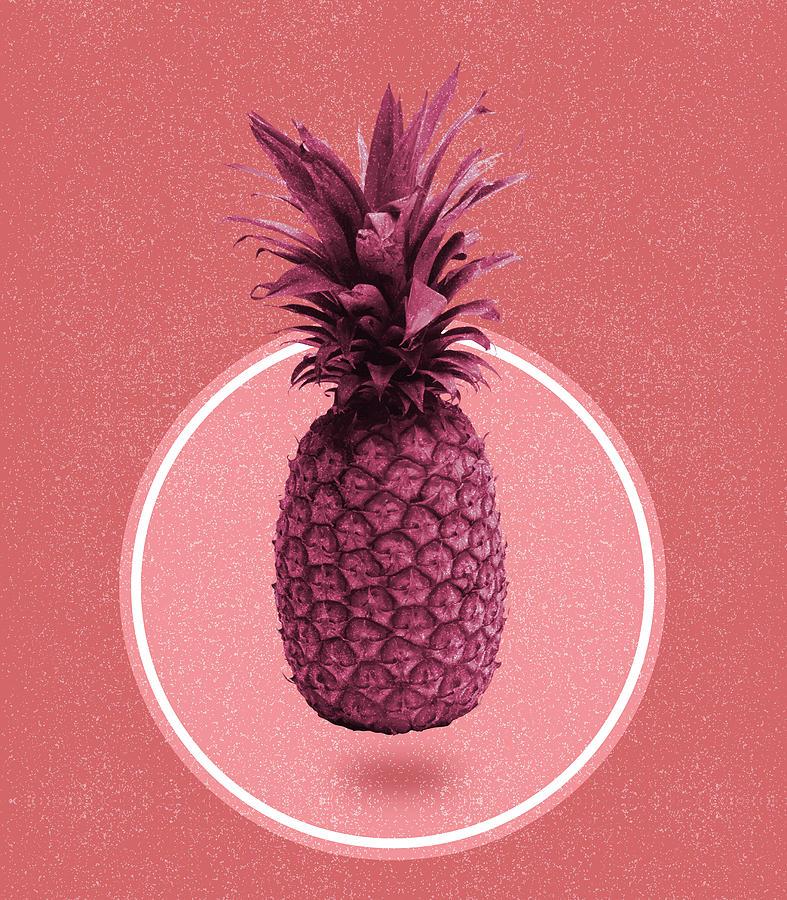 Pineapple Print - Tropical Decor - Botanical Print - Pineapple Wall Art - Magenta, Pink - Minimal Mixed Media