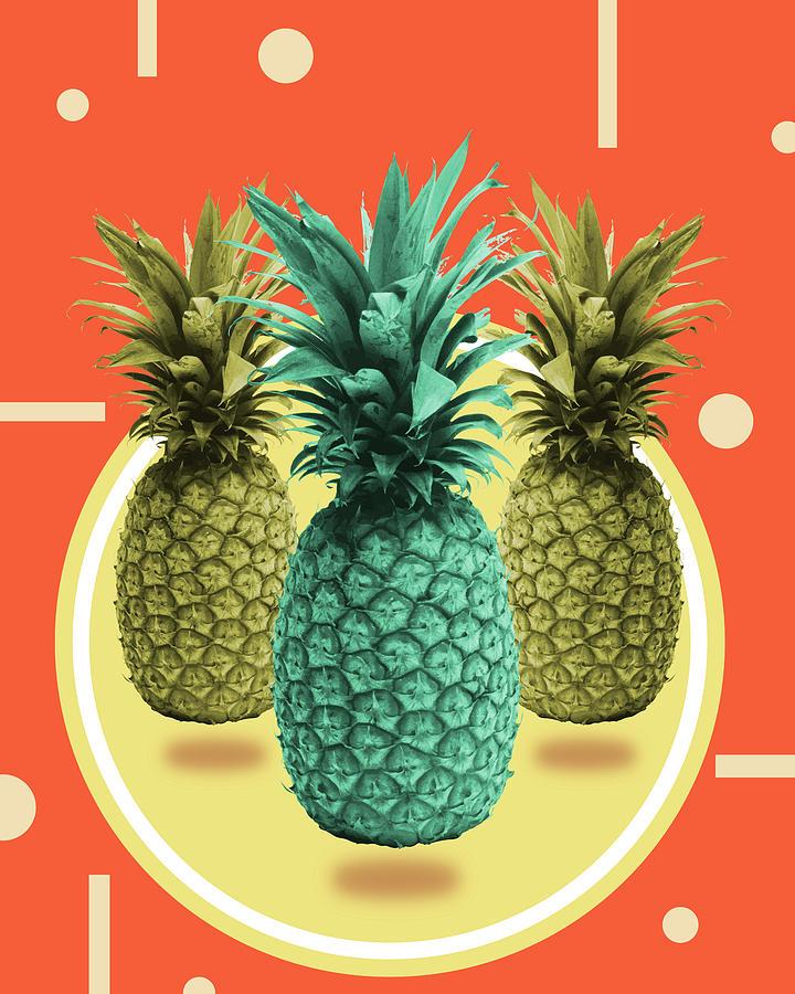 Pineapple Print - Tropical Decor - Botanical Print - Pineapple Wall Art - Orange, Blue - Minimal Mixed Media