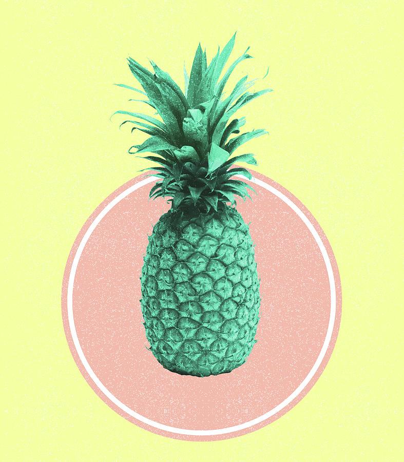 Pineapple Print - Tropical Decor - Botanical Print - Pineapple Wall Art - Yellow, Pink - Minimal Mixed Media