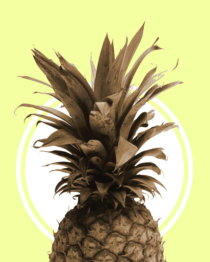 Pineapple Print - Tropical Poster - Botanical Print - Pineapple Wall Art - Yellow, Golden - Minimal Mixed Media