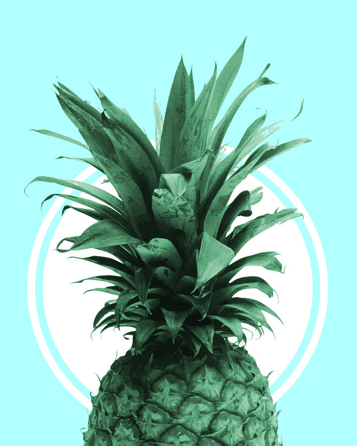 Pineapple Print - Tropical Wall Art - Botanical Print - Pineapple Poster - Blue - Minimal, Modern Mixed Media