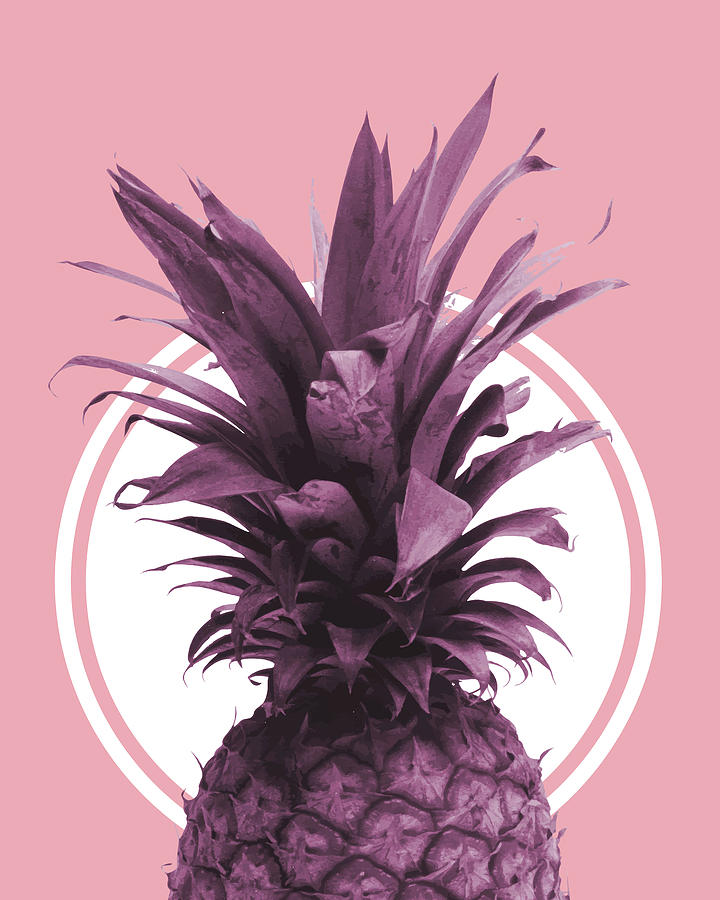 Pineapple Print - Tropical Wall Art - Botanical Print - Pineapple Poster - Purple - Minimal, Modern Mixed Media