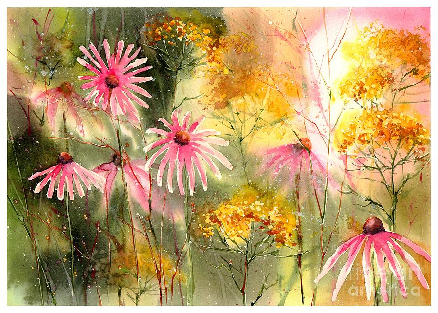 Floral Painting - Pink And Gold by Suzann Sines