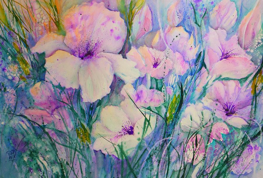 Spring Flower Medley pink and purple by Sabina Von Arx