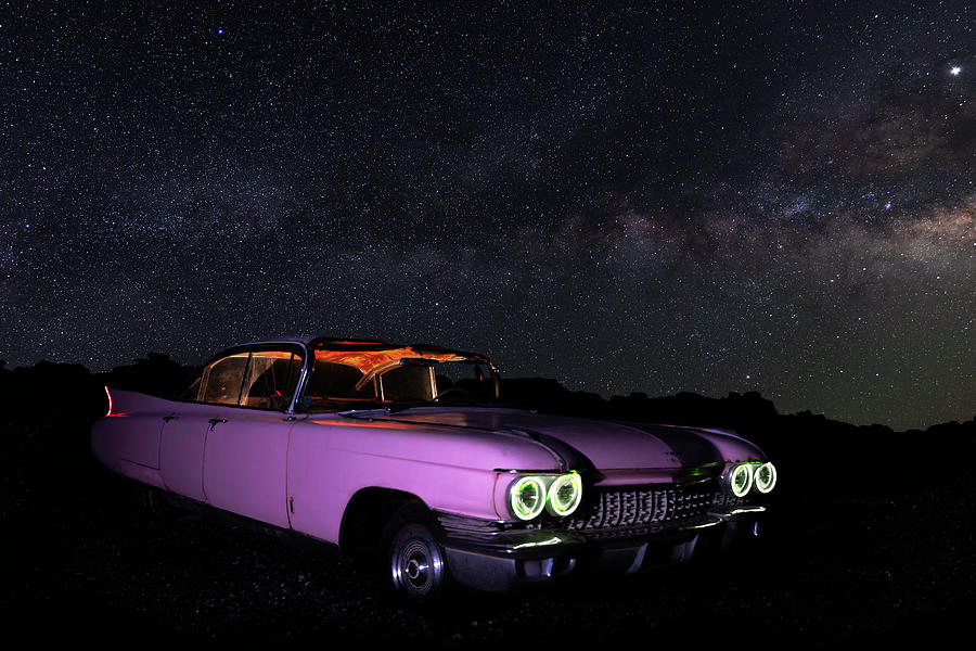 Pink Cadillac in the Desert Under the Milky Way by James Sage