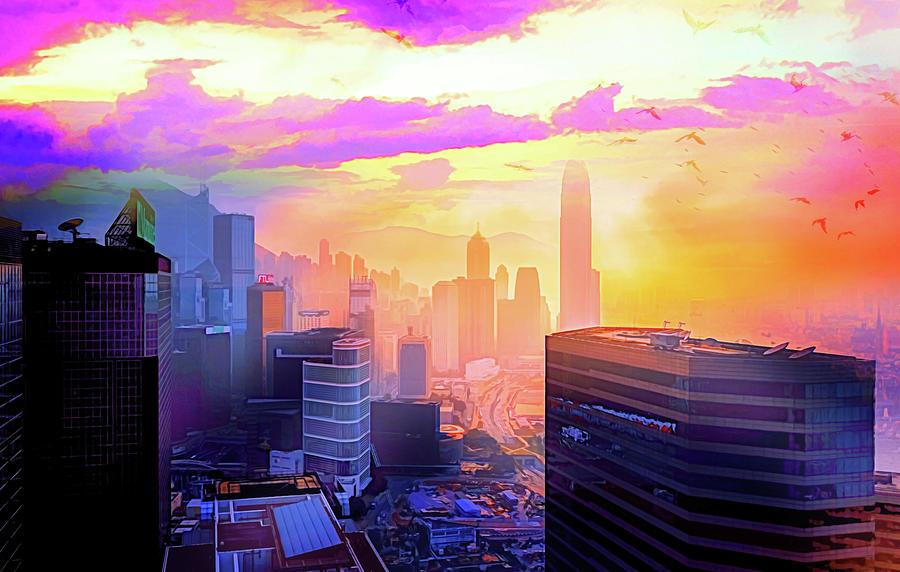 City Digital Art - Pink City by Jasmina Seidl