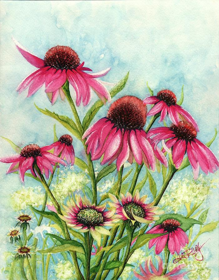 Coneflowers Painting - Pink Coneflowers by Janine Riley