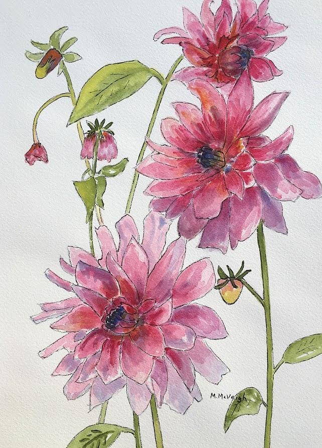 Dahlia Painting - Pink Dahlias by Marita McVeigh