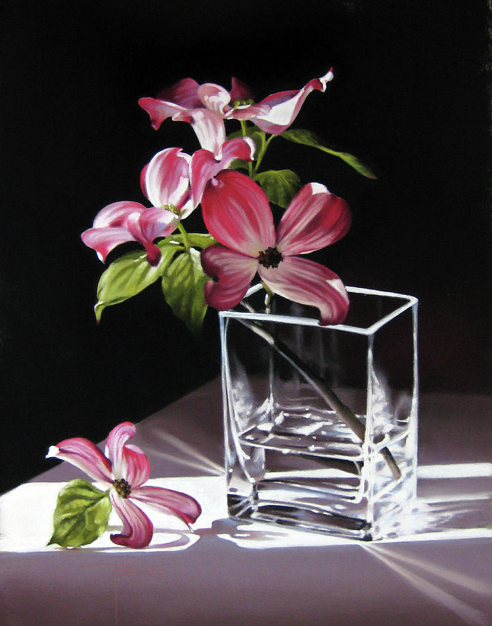 Pink Dogwood Pastel - Pink Dogwood In A Square Vase by Dianna Ponting