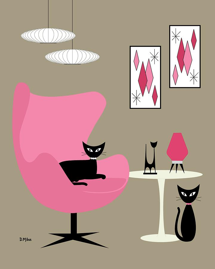 Pink Egg Chair with Cats by Donna Mibus