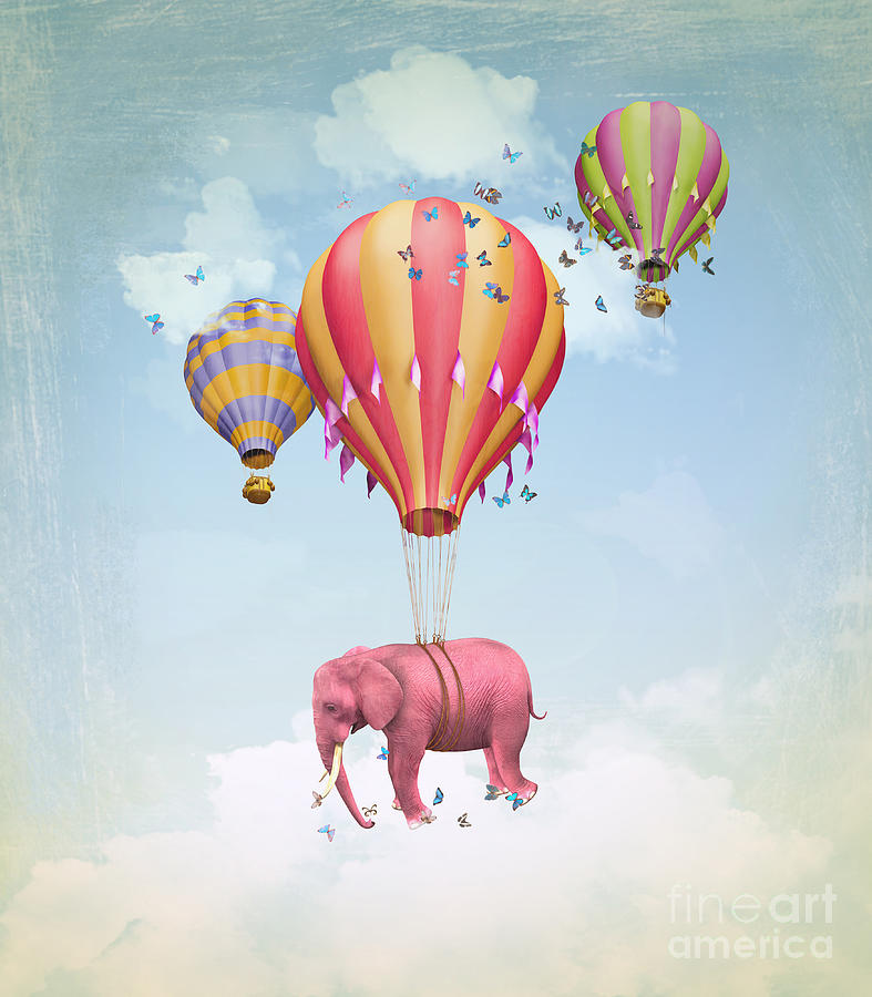 Magic Digital Art - Pink Elephant In The Sky With Balloons by Ganna Demchenko