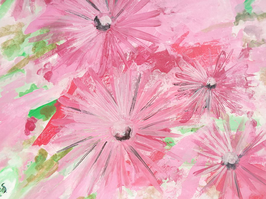 Pink Painting - Pink flowers by Hoda Said Ibrahim
