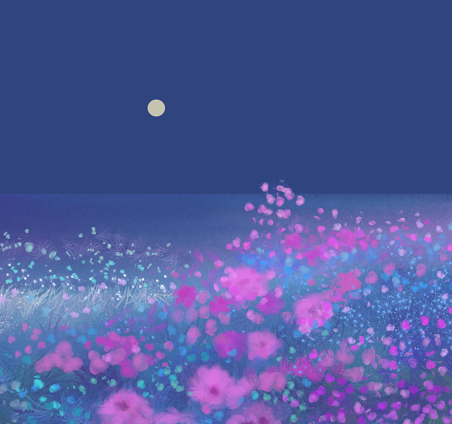 Pink Flowers in the Moonlight by Val Arie