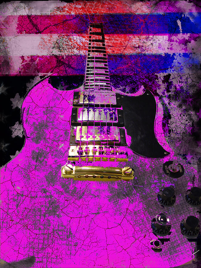 Pink Guitar against American Flag by Guitar Wacky