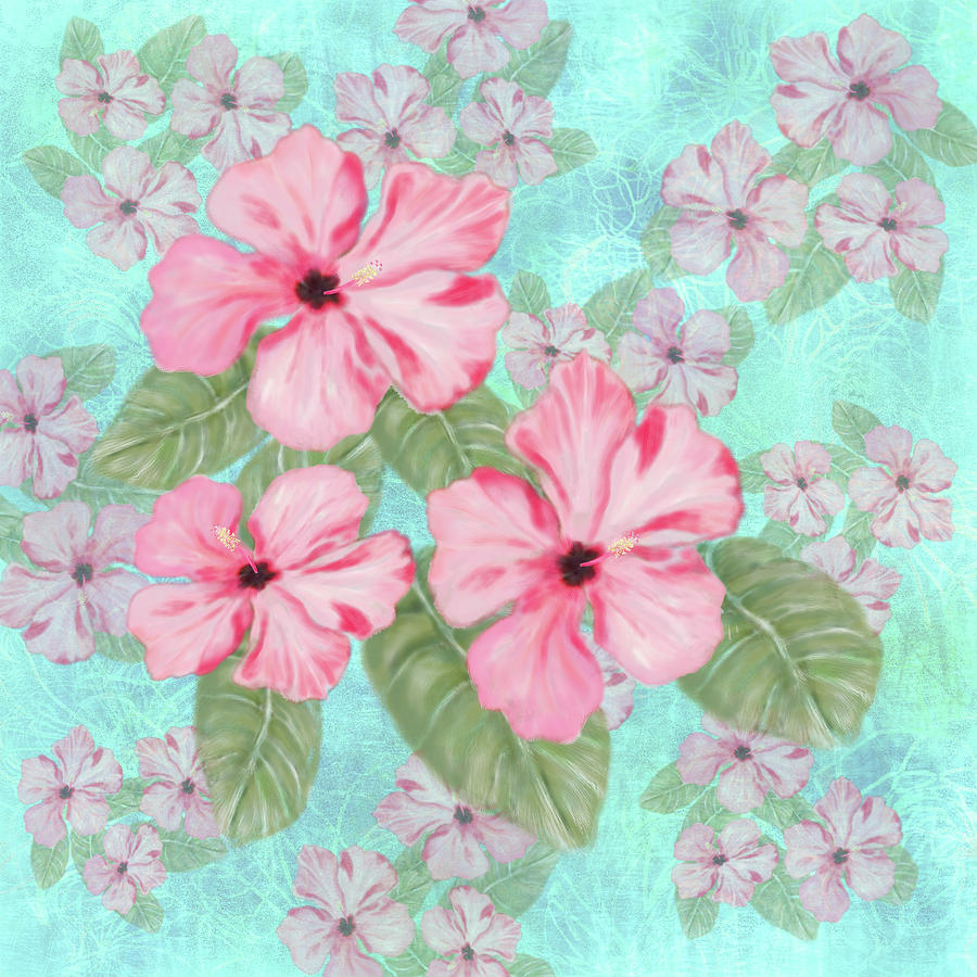 Pink Hibiscus Print On Aqua Digital Art