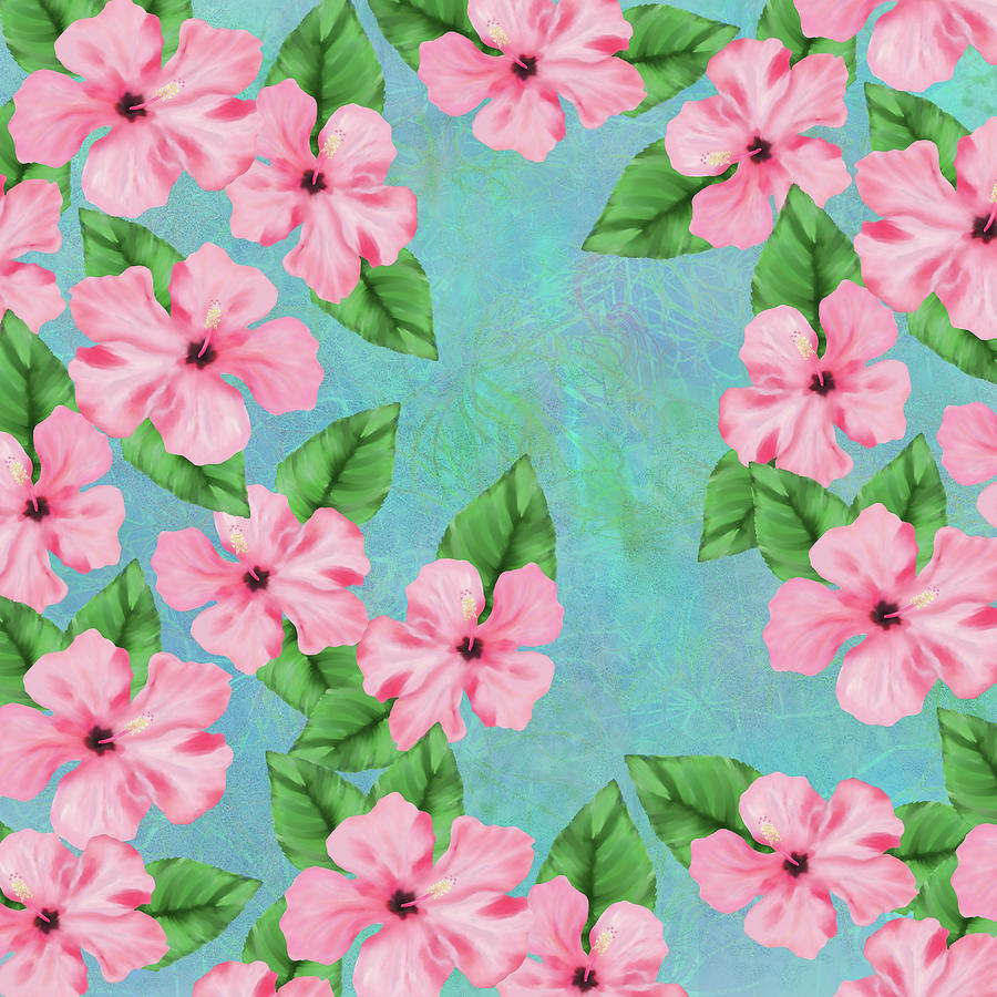 Pink Hibiscus Tropical Floral Print Digital Art