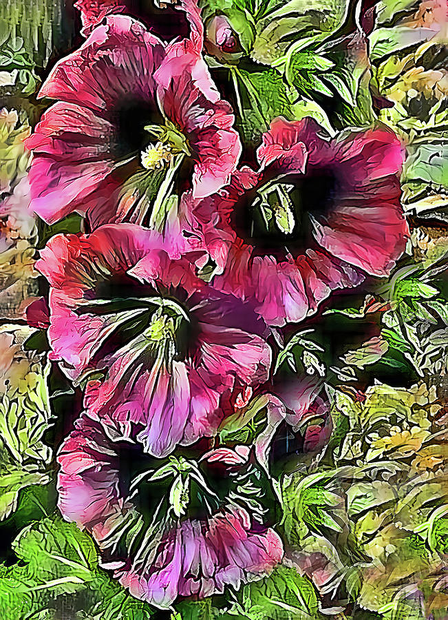 Pink Hollyhocks by HH Photography of Florida