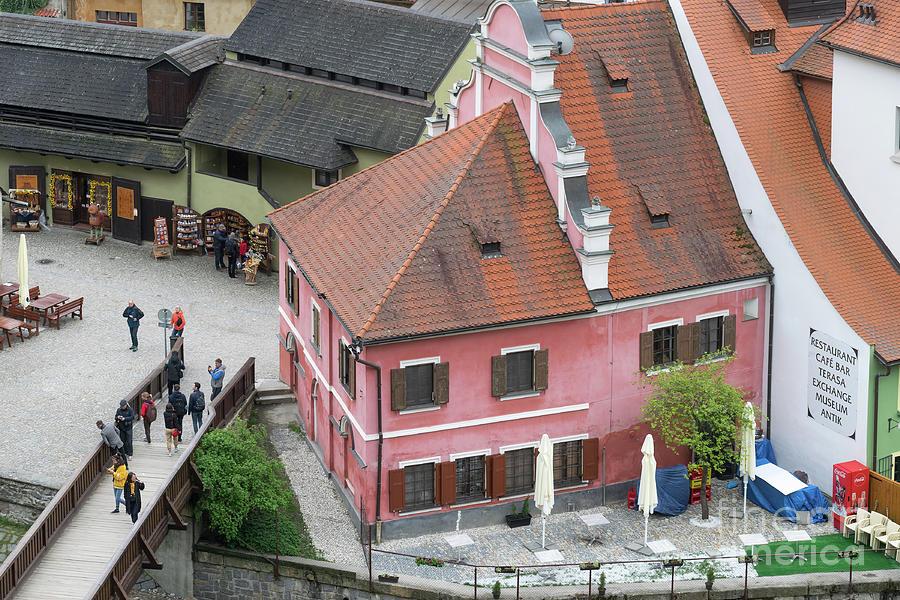 Pink House in Cesky Krumlov  by Les Palenik