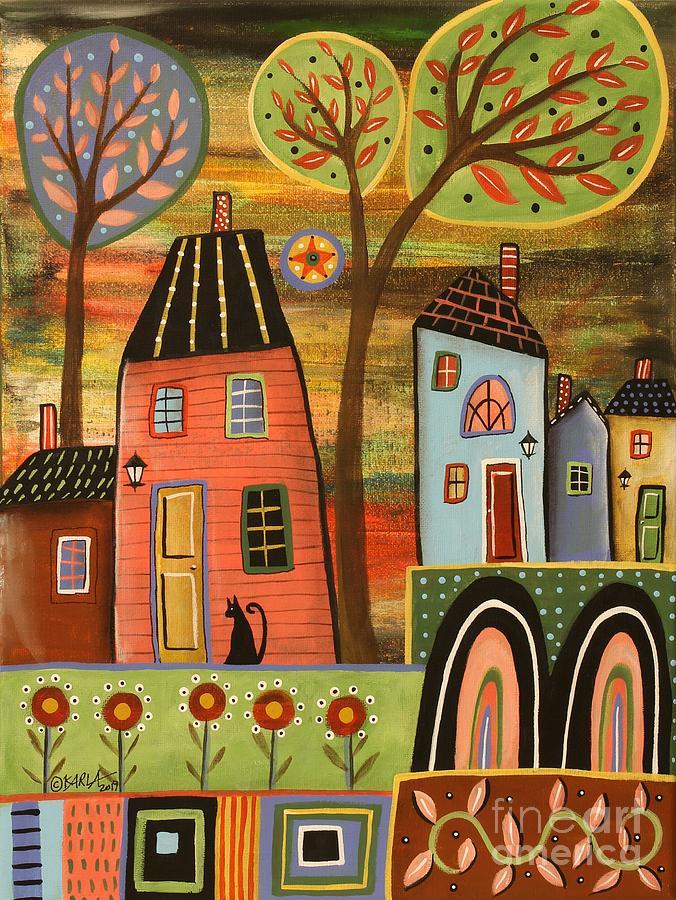 Folk Art Landscape Painting - Pink House Landscape by Karla Gerard