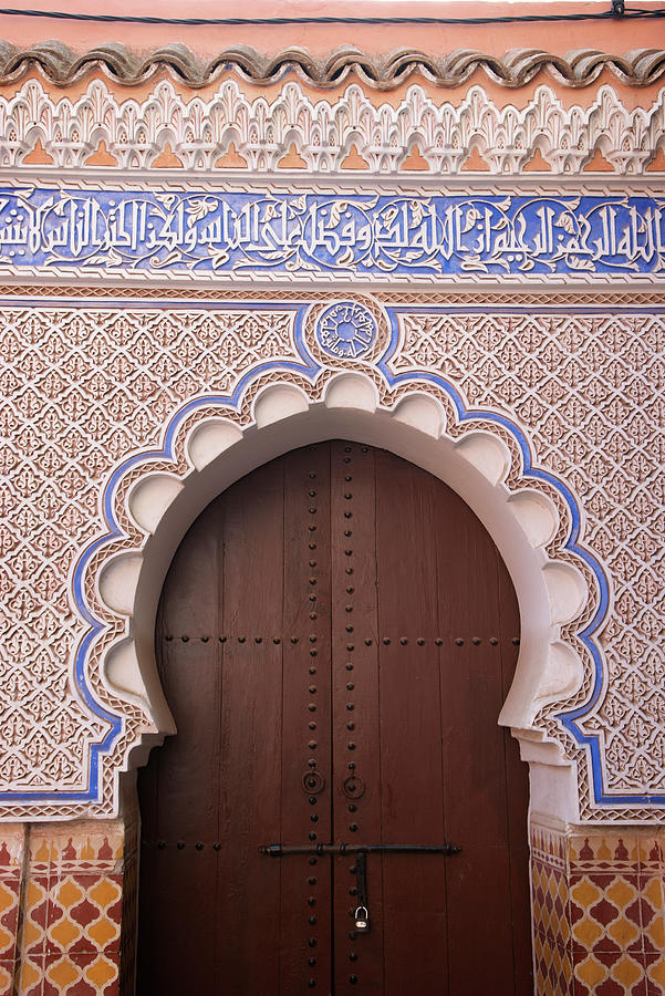 Pink Islamic Arch Wooden Door Photograph by Peskymonkey