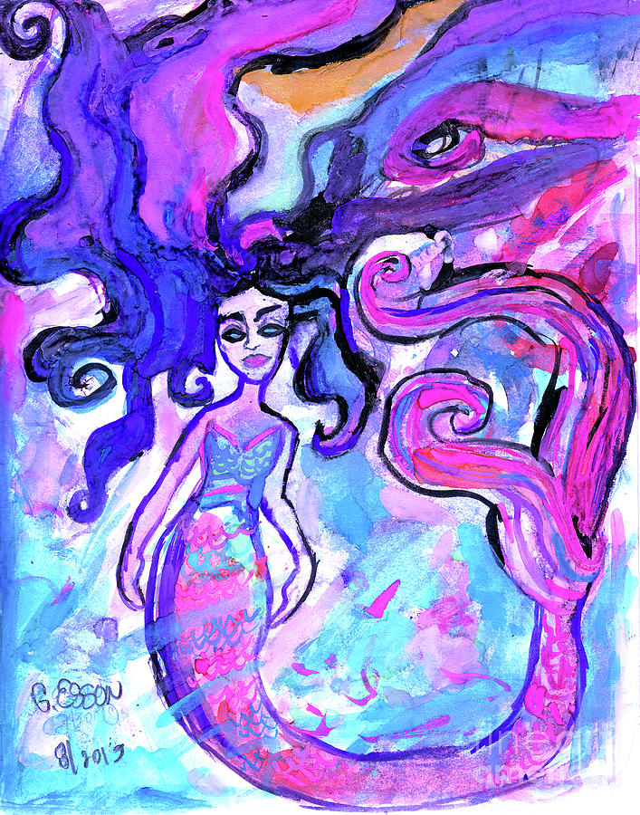 Pink Mermaid With Black Hair by Genevieve Esson
