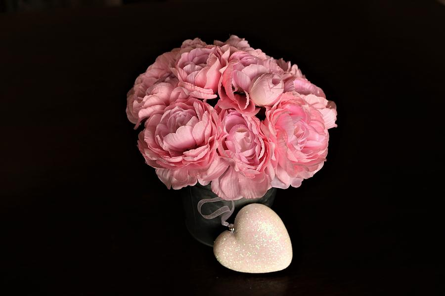 Pink Peonies and Heart on Black by Sheila Brown