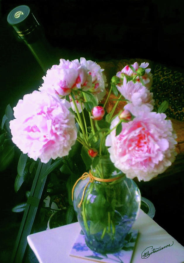 Pink Peonies Vase by Elly Potamianos