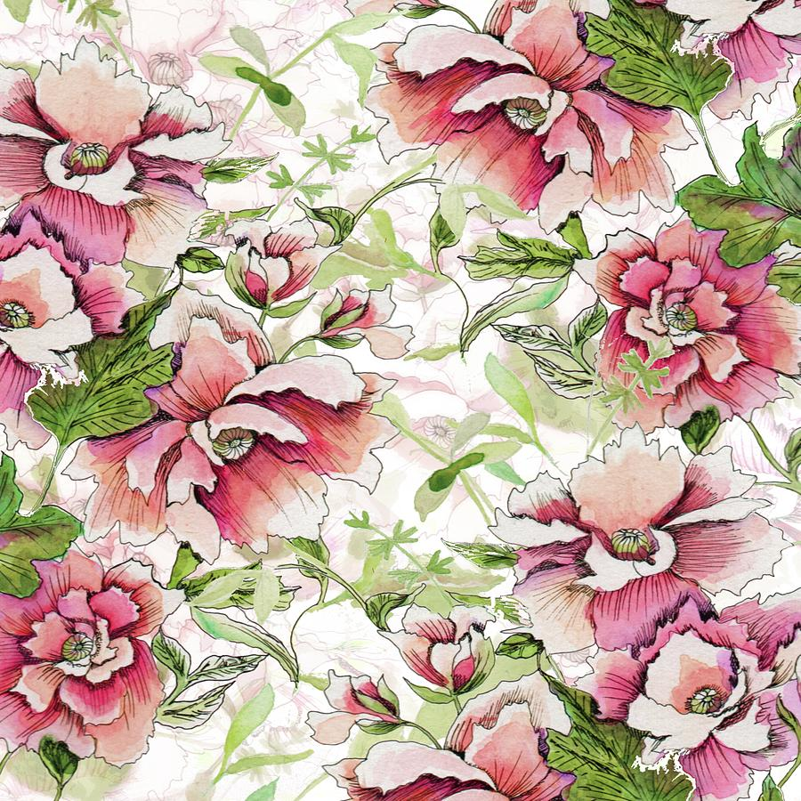 Pink Peony Blossoms by Sand And Chi
