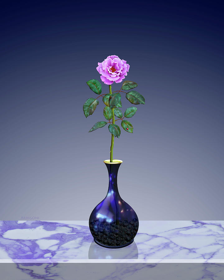 Pink Perpetual Rose in Vase by David Arrigoni